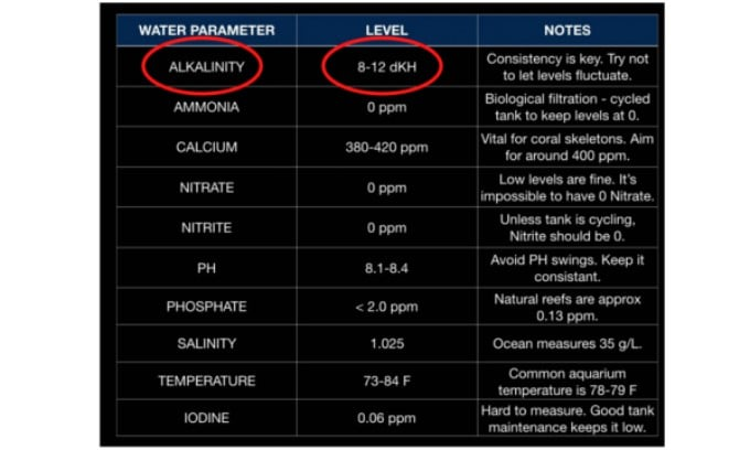 alkalinity level for reef tank